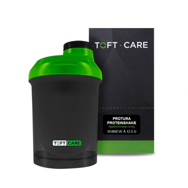 Protura Proteinshake appelsin/mango smag - 10 x 12,5 g. samt Toft Care Shaker